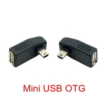 2pcs 90 Degree Up & Down Right Angled Mini USB Type B to USB Female OTG Adapter for Tablet & Cell Phone цена и фото