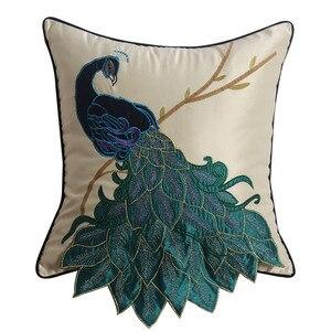 Высококачественная атласная наволочка для гостиной с вышивкой павлина бирюзового синего цвета наволочка имитация шелка наволочки