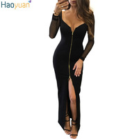 Europe Sexy Black Maxi Dress Robe Sexy Mesh Long Sleeve Deep V Neck Wrap Long Party
