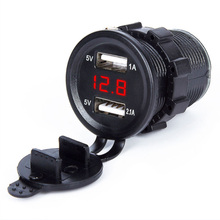 Mini dual USB 5V 2.1A car motorcycle cigarette lighter charger voltmeter integrated 12/24V