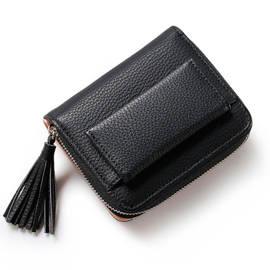 Women's New Tassel Short Solid Color Purse Mini Coin Wallet Credit Card Holder Classic Small Wallet Five Colors