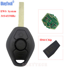 OkeyTech Car Remote Key Fob for BMW EWS X3 X5 Z3 Z4 1/3/5/7 Series Keyless Entry Transmitter 315/434MHz ID44 Chip HU92 Blade Key