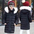 Girls Winter Medium Long Down Jacket With Fur Hat Teenager Girls Pocket Warm Outerwear Parkas for cold -30 degree Jacket Coat