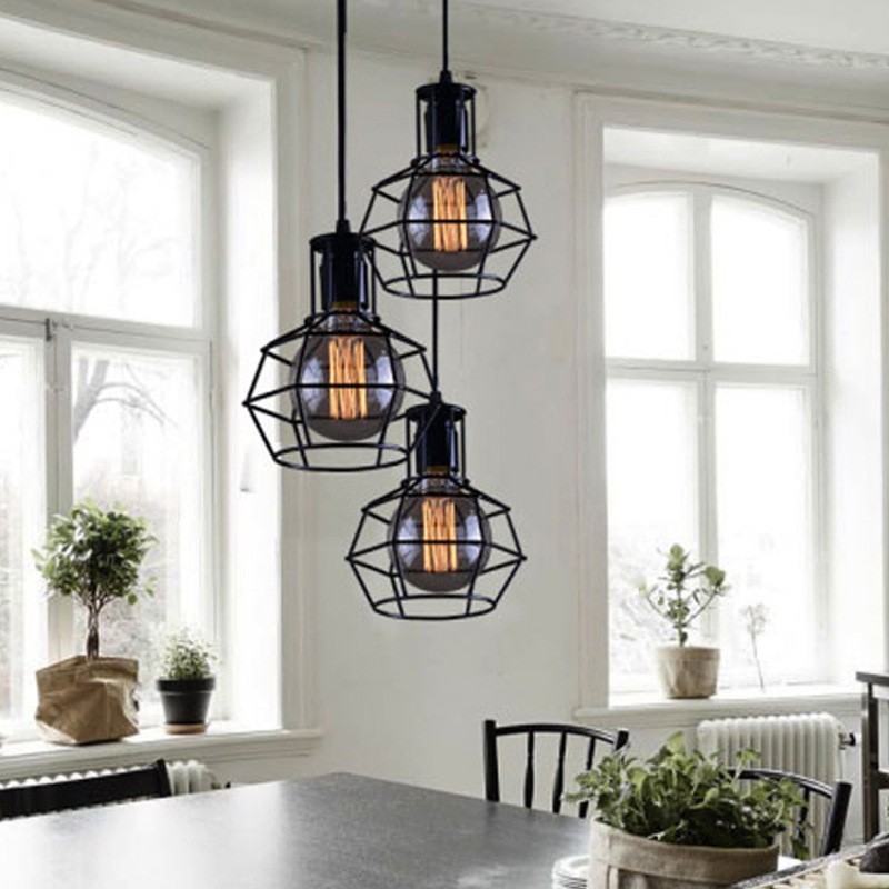 Nordic Loft Retro Iron Cage Modern Light Fixture American Industrial Vintage Lamp Kitchen Hanging Lamps