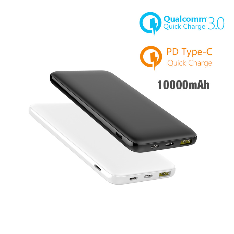 10000mAh Slim External Battery Charger Power Bank For iPhone X XS MAX PD USB Fast Charging + Quick Charge 3.0 Powerbank