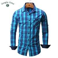 JUNGLE ZONE european size Men's shirt Long Sleeve Plaid Shirts Brand Mens shirts Casual Denim Style Checks Shirts 102