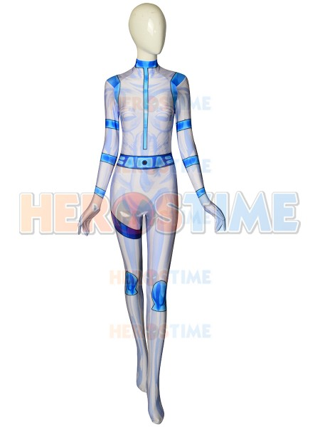 Spandex White And Blue Kim Possible Battle Suit 3D Printing Halloween Cosplay Superhero Zentai Bodysuit Custom Made