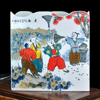 Guo Pushan ceramics famous hand painted playful characters of the living room table decoration vase certificate
