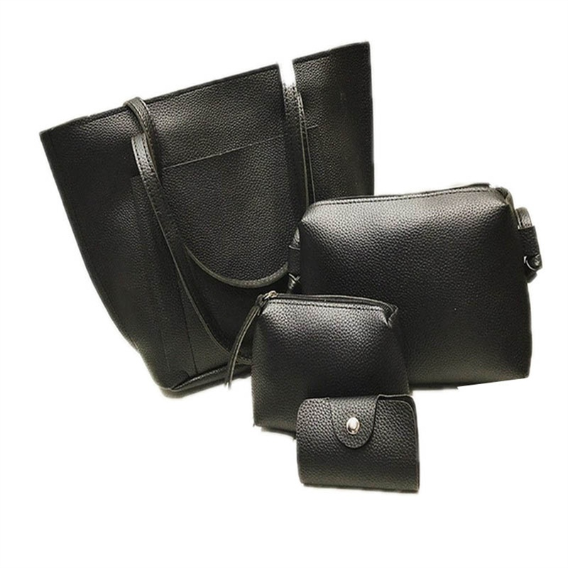 4 pcs Fashion Travel Bags for women small PU female ladies Crossbody Single Shoulder Bag Suede Weave Duffle Messenger Travel Bag