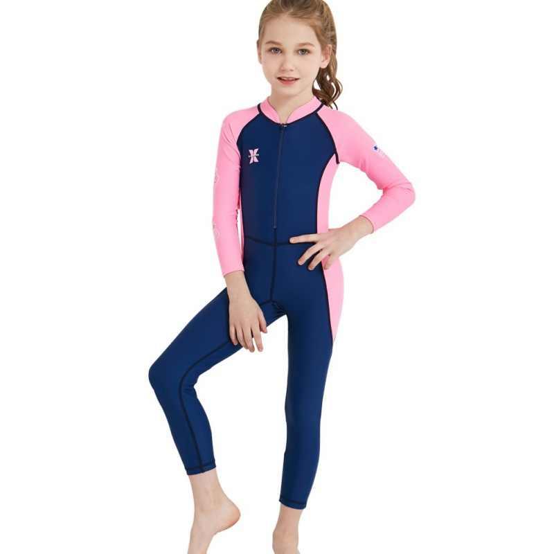 Tek parça 2.5MM neopren çocuklar dalgıç kıyafeti Wetsuit çocuk erkek kız sıcak tutmak uzun kollu UV koruma mayo