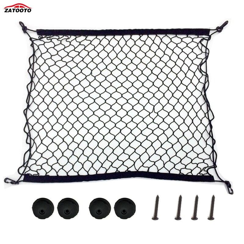 Универсальная сетка для хранения в багажник автомобиля, автомобильный задний органайзер для груза с 4 крючками, эластичный сетчатый держат...