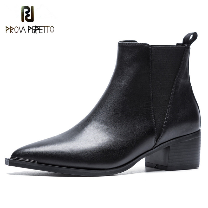 Prova Perfetto Pointed Toe Women Genuine Leather High Heels Autumn Winter Shoes Woman Boots Sexy Black
