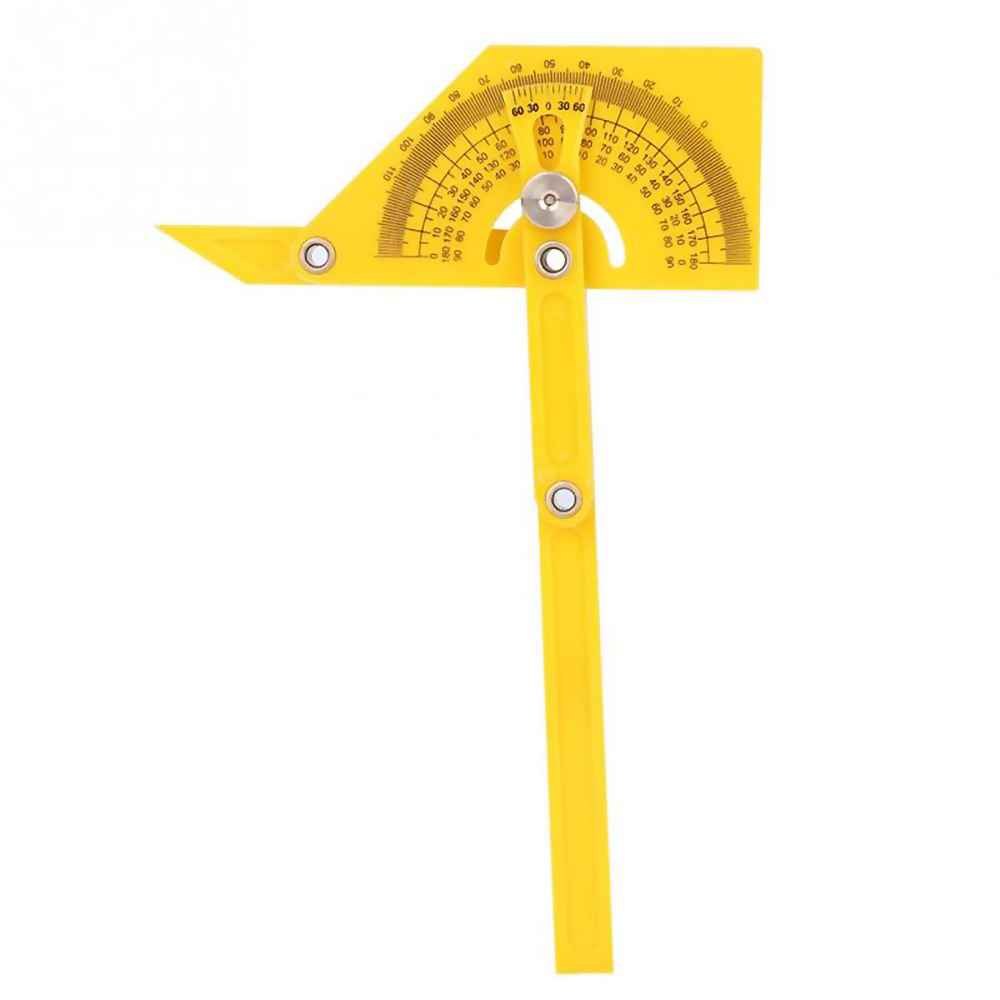 180 Degree Yellow Semicircle Ruler Multifunctional Protractor For Woodworking Ruler Foldable Worker Student Architect Engineer