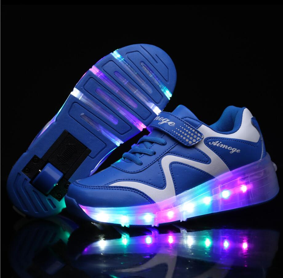 Roller shoes shop - 28 43 Children Roller Skate Shoes Child Jazzy Junior Girls Boys Led Light Roller Shoes Kids Sneakers With Wheels Bz043