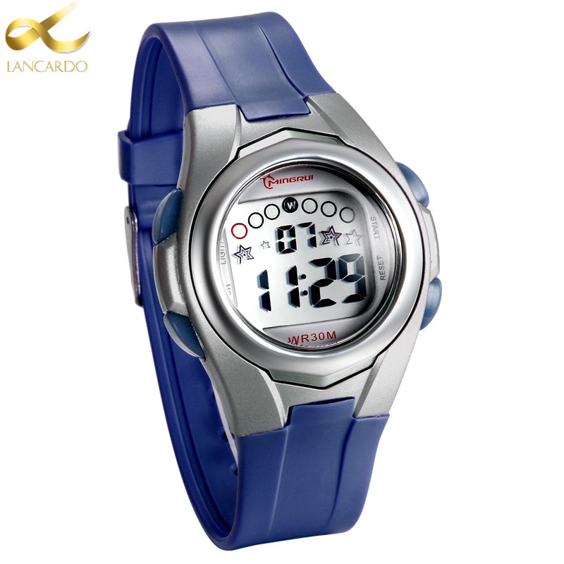2020 New Brand Lancardo Children Watch LED Digital Watches For Boys&Girls Alarm Stopwatch Waterproof Clock Blue Kids Watches