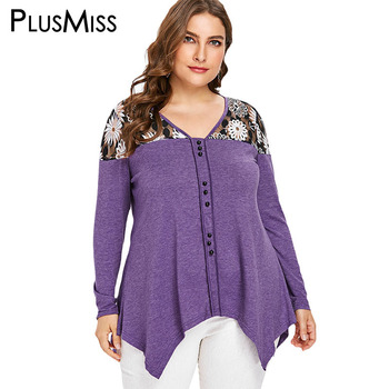 PlusMiss Plus Size Floral Sexy Mesh Tunic Tops 5XL Women Autumn 2018 Big Size Vintage Long Sleeve Blouse Ladies XXXXL XXXL XXL