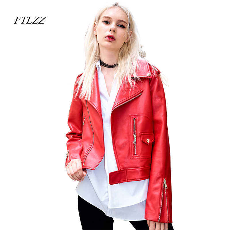 8d610ebaed22e FTLZZ Women Red Leather Jacket Spring Autumn PU Jackets Ladies Long Sleeved  Turn Down Collar Slim