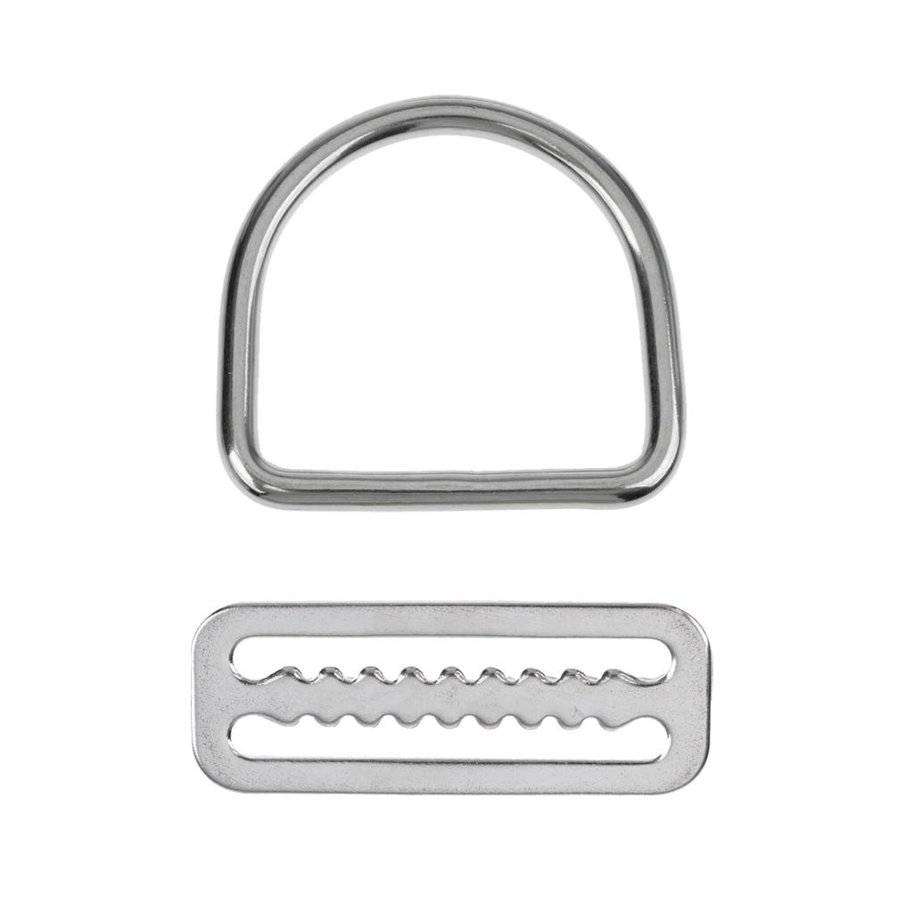 1pc 316 Stainless Steel 5cm Weight Belt Keeper & 1pc D Ring Scuba Diving Accessories Fits Standard 5cm Wide Webbing Belt Harness