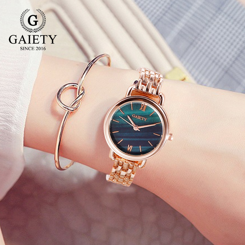 Gaiety Brand Women Dress Watches Luxury Ladies Creative Malachite Green Dial Creative Bracelet Quartz Clock Fashion Watch