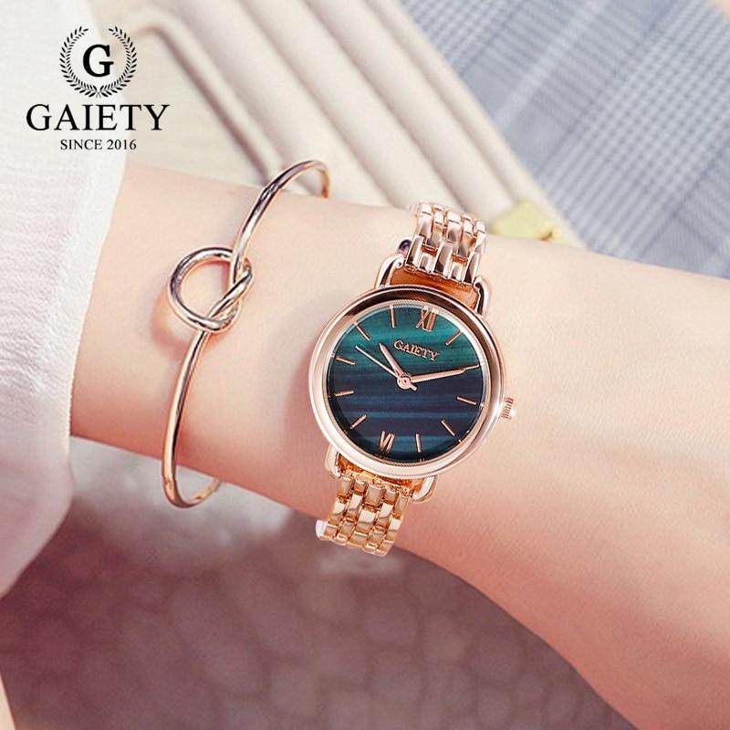 Gaiety Brand Women Dress Watches Luxury Ladies Creative Malachite Green Dial Creative Bracelet Quartz Clock Fashion Watch