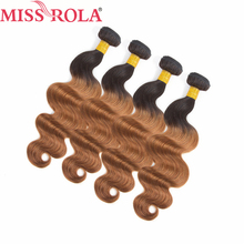 Miss Rola Hair Pre Colored Ombre Brazilian Body Wave Hair Weaving 4 Bundles T1B 30 Color