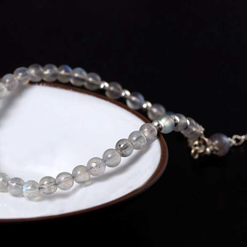 Ruifan Blue Light Natural Moonstone Bracelet Handmade 100 925 Sterling Silver Bracelets for Women Silver 925 Jewelry YBR065 in Bracelets Bangles from Jewelry Accessories
