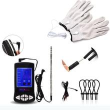 صدمة كهربائية قفازات خواتم الديك للأزواج صدمة كهربائية ذكر الإحليل الصوت القضيب المقابس عدة منتجات جنسية للأزواج