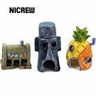 Nicrew Resin crafts Mini For SpongeBob & Squidward House Style Pineapple Cartoon House Home Fish Tank Aquarium Ornament Decorate