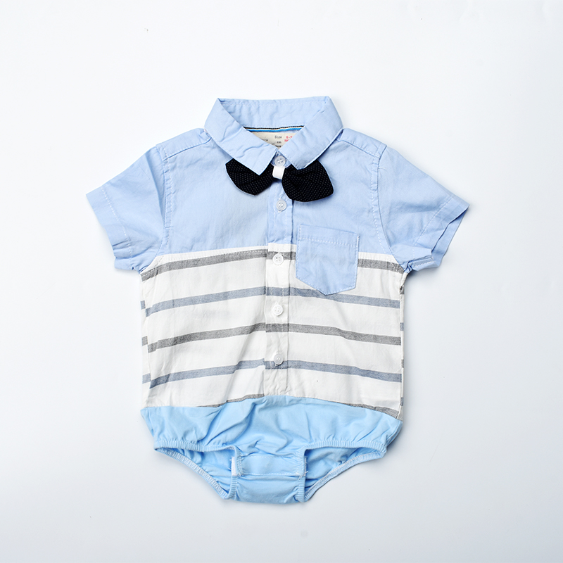 Baby boy romper 2018 summer striped baby clothes short sleeve jumpsuit baby onesie formal shirt for newborn photography props