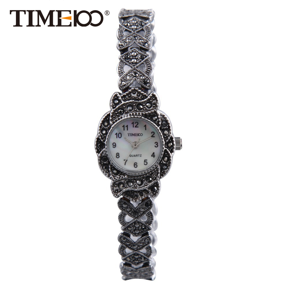 ФОТО TIME100 Retro Women's Quartz Watches Stainless Steel Strap Small Shell Dial Causal Ladies Bracelet Watches Gift bayan kol saati