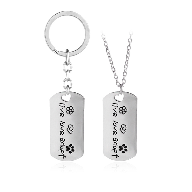 """live love adoef""Lettering Necklace Set Silver Pet Lover Pendent Necklaces String flower loving heart pet paw footprint Necklace"