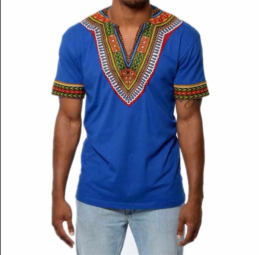 2018 Moda Mens Roupas Encabeça Camiseta Homme África Africano Dashiki Vestido de Marca de Roupas Casuais Camisa de Manga Curta T para homens