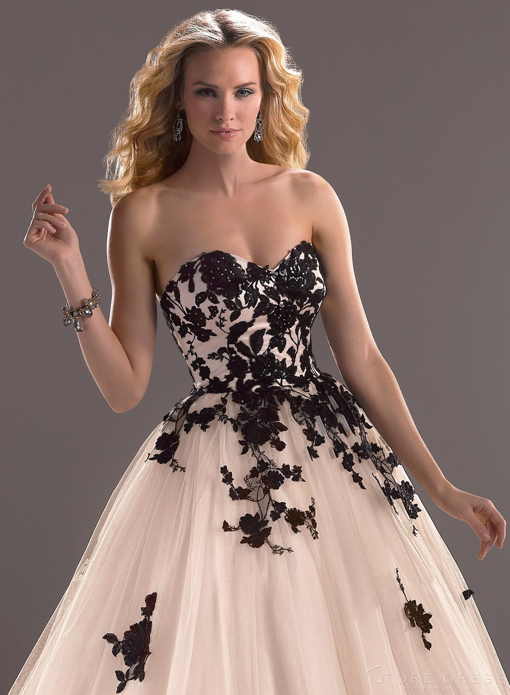 Fine Wedding Gowns With Black Accents Collection - Wedding Dress ...