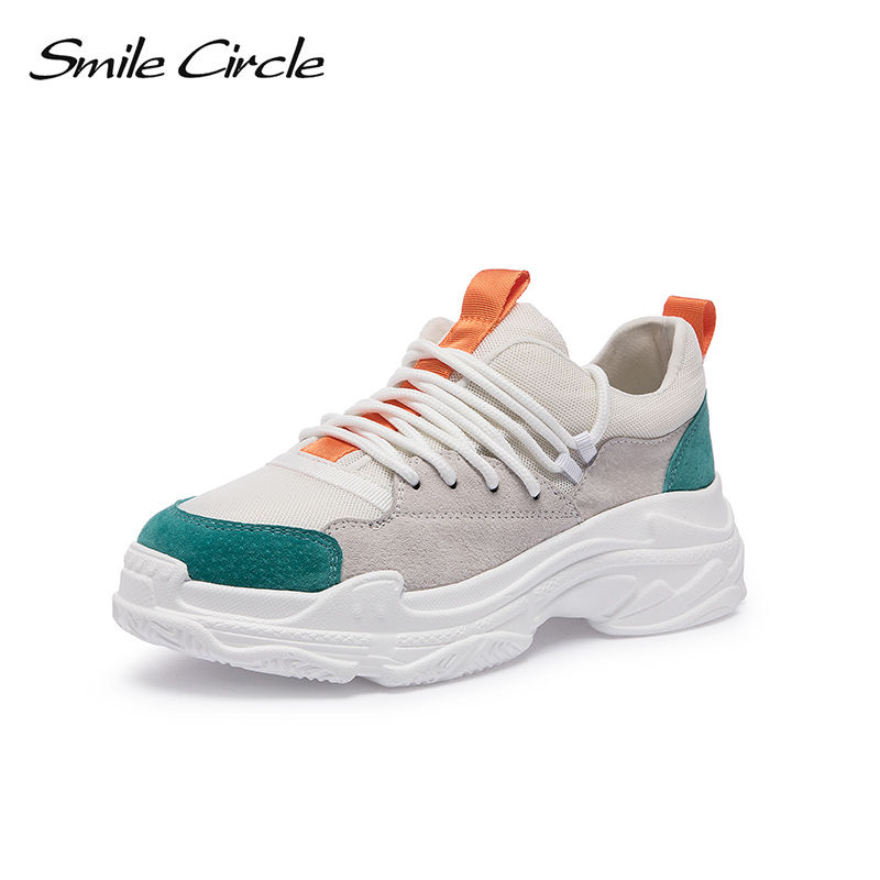 Smile Circle Spring/Autumn Women Shoes Casual Sneakers For Women Platform shoes Fashion Lace-up Flat Platform Shoes Sneakers