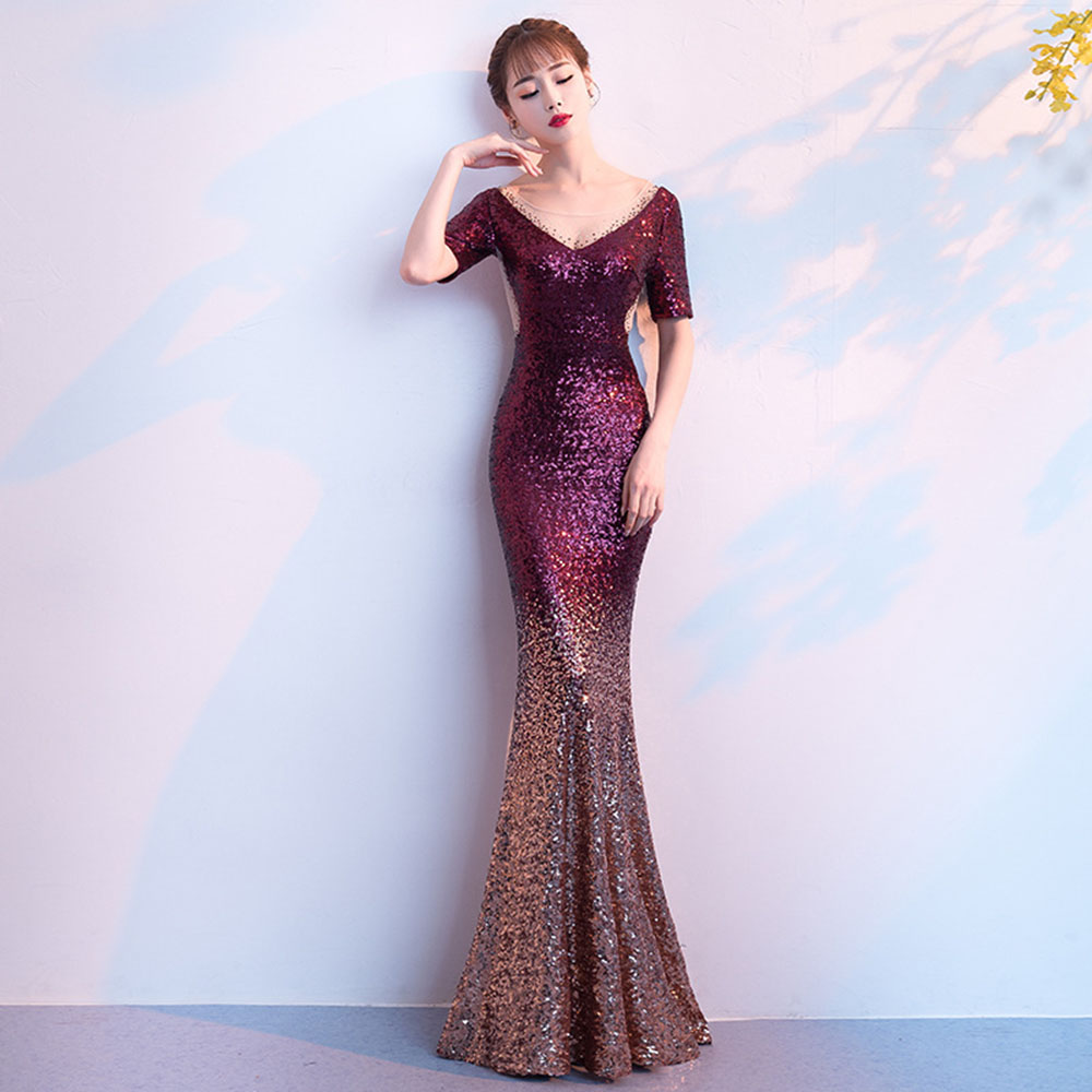 US $15.15 15% OFFSexy Celebrity Maxi Dresses Sequins Women Robe De Soiree  Elagant Bling Trumpet Dress Evening Gown Luxury