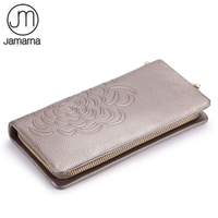 Jamarna Genuine Leather Wallet Female Long Red Credit Card Holder Phone Coin Purse Floral Pattern Design Women Wallets
