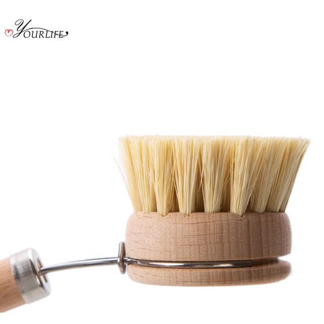 OYOURLIFE 1pcs Wooden Long Handle Pan Pot Brush Dish Bowl Washing Cleaning Brush Household Kitchen Cleaning Tools