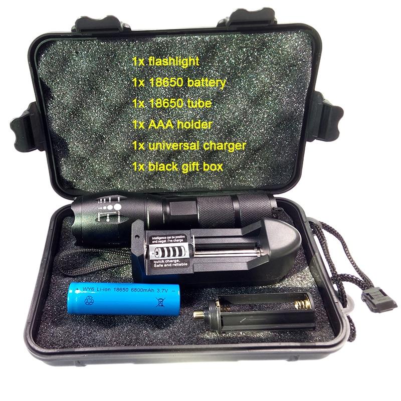 aluminum alloy powerful flashlight zoomable 3800LM xml l2 led torch light 1pc 18650 battery 1pc EU