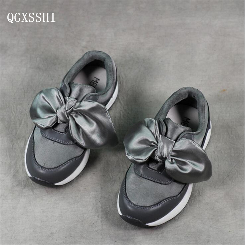 QGXSSHI 2017 spring autumn Genuine Leather children sports shoes girls princess Butterfly knot casual shoes child Single shoes