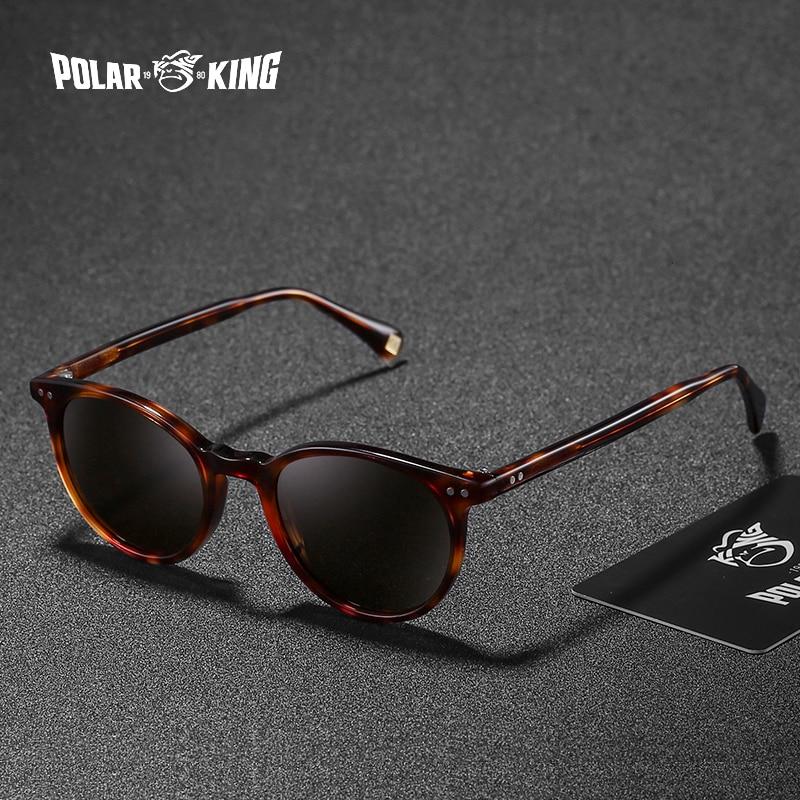 Polarking marca de moda polarizada viajar mulheres homens óculos de sol unissex acetato clássico redondo óculos de condução oculos
