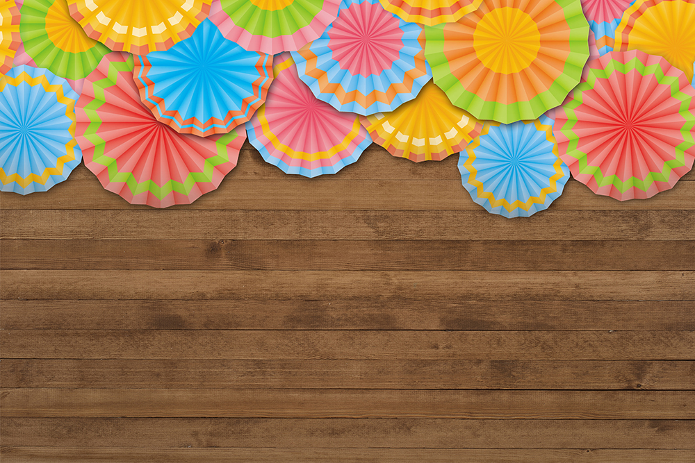 Fiesta Themed Backdrop Kids Birthday Party Backgrounds Paper Fans Wood Background Rustic Background Desktop Wallpaper Decors