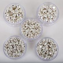 50-300 peças (6mm/8mm/10mm/12mm/14mm) jingle pingentes de ferro prata, enfeites de pendurar para árvore de natal