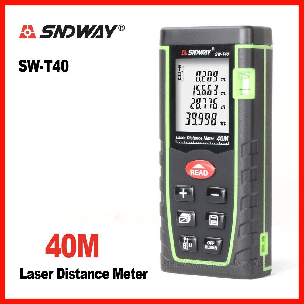Sndway 40 m laser range finder distanza di misura di nastro di misura misuratore di roulette il trena telemetro Elettronico righello strumento di SW-T40