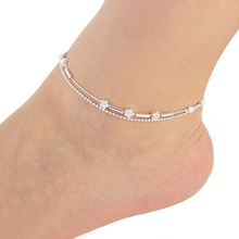 New Charm Anklets for Women Silver Plated flower round bead double chain Ankle For Women JL-029