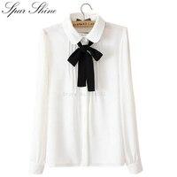 Wholesale 2016 New Fashion Blusas Y Camisas Mujer Peter Pan White Long Sleeved Shirt Ladies Tops