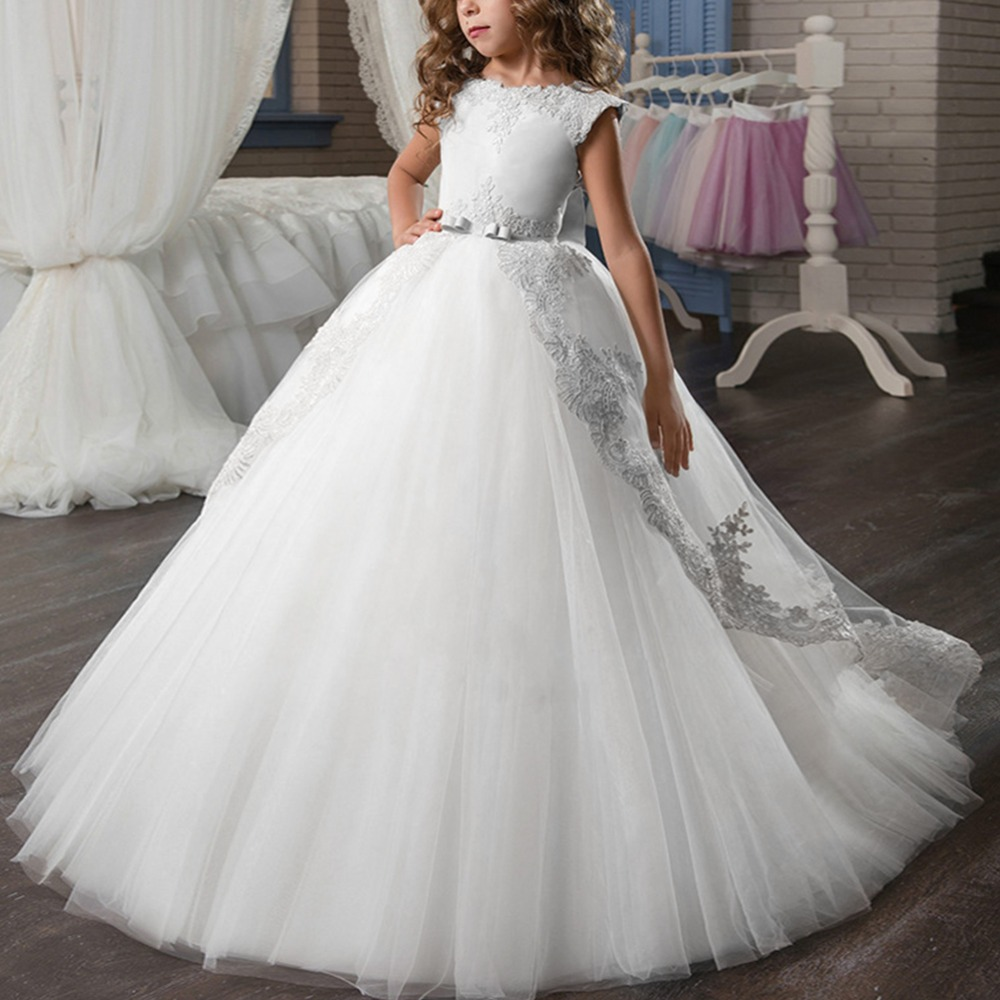 Vintage Elegant Girls Dress for Baby Kids Puffy Tulle Trailing Long Princess Dress Birthday Party Wedding Kid Bridesmaid Dress