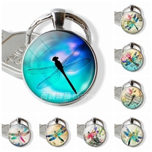 Fashion Handmade Dragonfly Glazed Insect Glass Dome Art 25MM Illustration  Jewelry Keychain Pendant Key Ring Crafts a52b73b85