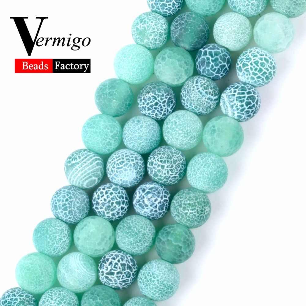 4 6 8 10 12mm Natürliche Stein Matte Onyx Perlen Für Schmuck Machen Frost Geknackt Grün Achate Perlen Diy armband Halskette 15 zoll