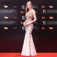 V Neck Floor Length With Belt Mermaid Golden Slevessless Zipper Back Celebrity Dresses Fashionable Elegant