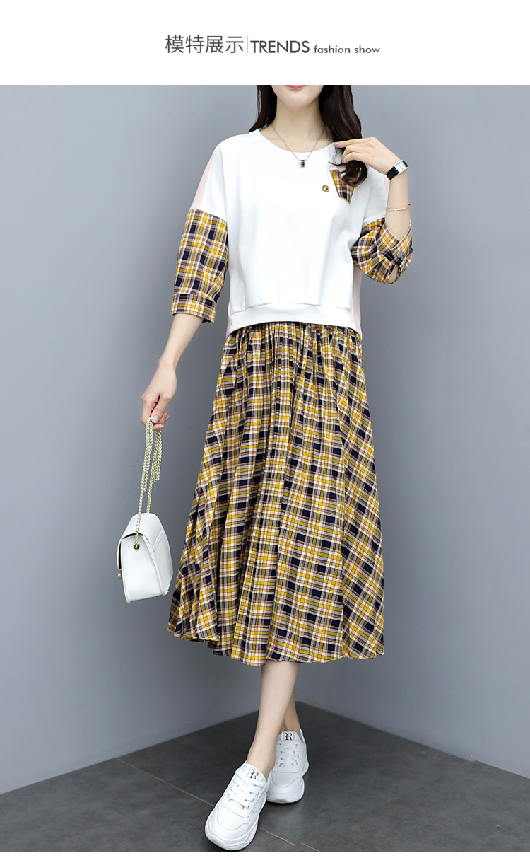 Spring Plaid Two Piece Sets Women Sweatshirt Tops And Pleated Skirt Sets Suits Casual Korean Female Women's Sets Costumes 2019 35